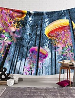 cheap -wall tapestry art decor blanket curtain hanging home bedroom living room decoration colorful jellyfish forest polyester
