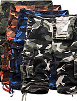 "cheap -Men's Hiking Cargo Shorts Camo Summer Outdoor 10"" Loose Breathable Anti-tear Multi-Pocket Cotton Shorts Red Dark Green Blue Light Grey Khaki Hunting Fishing Climbing 29 30 31 32 34"