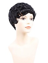 cheap -8 inch short wigs for american women black short synthetic wig cosplay perruque short curly hair wig natural black bug mixed colour