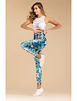 cheap -Women's Sporty Yoga Sports Gym Yoga Active Pants Pants Tropical Ankle-Length Print Blue