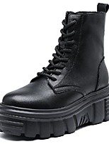 cheap -Women's Boots Wedge Heel Round Toe Booties Ankle Boots British Daily Walking Shoes Leather Lace-up Solid Colored Black / Mid-Calf Boots