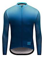cheap -21Grams Men's Long Sleeve Cycling Jersey Dark Navy Gradient Bike Jersey Mountain Bike MTB Road Bike Cycling Breathable Sports Clothing Apparel / Athletic