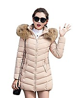 cheap -women faux fur hooded quilted padded parka jacket winter overcoat puffer coat (l, khaki)