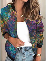 cheap -Women's Geometric Patchwork Streetwear Spring &  Fall Jacket Regular Sports Long Sleeve Rayon Coat Tops Blue