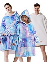 cheap -oversized sherpa wearable starry universe blanket hoodie with pocket for unisex kids cosplay one size fits all