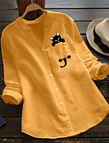 cheap -Women's Blouse Shirt Animal Long Sleeve Patchwork Print Standing Collar Tops Cotton Basic Basic Top White Blue Yellow