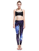 cheap -Women's Basic Chino Comfort Daily Gym Leggings Pants Galaxy Ankle-Length Patchwork Print Blue