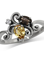 cheap -natural citrine smoky quartz and white topaz 925 sterling silver victorian style ring size 6