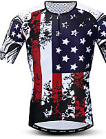 cheap -21Grams Men's Short Sleeve Cycling Jersey Dark Navy Bike Jersey Mountain Bike MTB Road Bike Cycling Breathable Quick Dry Sports Clothing Apparel / Athletic