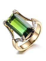 cheap -Ring 3D Green Copper Rhinestone Gold Plated Precious Fashion 1pc 7 8 9 / Women's