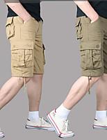 "cheap -Men's Hiking Cargo Shorts Solid Color Summer Outdoor 10"" Breathable Anti-tear Multi-Pocket Cotton Shorts Dark Grey Green / Yellow Black Army Green Khaki Hunting Fishing Climbing 29 30 31 32 33"