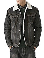 cheap -men's winter fleece lined denim jacket fur collar quilted jean coats outwear