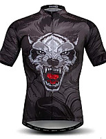 cheap -21Grams Men's Short Sleeve Cycling Jersey Black Animal Bike Jersey Mountain Bike MTB Road Bike Cycling Breathable Quick Dry Sports Clothing Apparel / Athletic