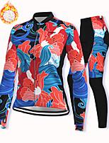 cheap -21Grams Women's Long Sleeve Cycling Jacket with Pants Winter Fleece Spandex Blue Floral Botanical Bike Fleece Lining Warm Sports Graphic Mountain Bike MTB Road Bike Cycling Clothing Apparel
