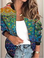cheap -Women's Plants Patchwork Streetwear Spring &  Fall Jacket Regular Sports Long Sleeve Rayon Coat Tops Blue