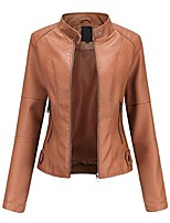 cheap -woman's pu  faux leather jackets,biker jackets with zip pockets vintage short coat for autumn spring womens biker jackets lady soft pu collar warm coat brown