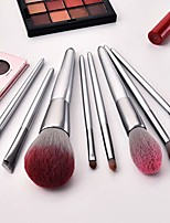 cheap -10pcs flame luxury makeup brushes set for foundation blending powder cream concealer blush brush (silver)
