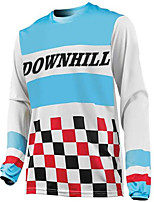 cheap -21Grams Men's Long Sleeve Downhill Jersey Spandex Blue / White Bike Jersey Top Mountain Bike MTB Road Bike Cycling UV Resistant Quick Dry Sports Clothing Apparel / Athletic