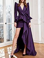 cheap -Sheath / Column Luxurious Elegant Wedding Guest Formal Evening Dress V Neck Long Sleeve Asymmetrical Taffeta with Bow(s) Pleats 2020