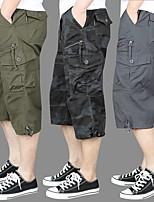 "cheap -Men's Hiking Shorts Solid Color Summer Outdoor 12"" Breathable Quick Dry Ultra Light (UL) Multi-Pocket Cotton Shorts Black Grey Khaki Green Hunting Fishing Climbing M L XL XXL XXXL"
