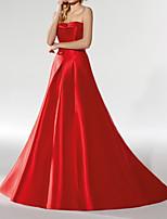 cheap -A-Line Minimalist Sexy Wedding Guest Formal Evening Dress Strapless Sleeveless Court Train Satin with Sleek 2020