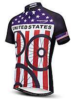 cheap -21Grams Men's Short Sleeve Cycling Jersey Purple Bike Jersey Mountain Bike MTB Road Bike Cycling Breathable Quick Dry Sports Clothing Apparel / Athletic
