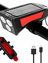 cheap -bike light set, led bike light set, supports solar energy and usb charging, 3 modes, bike lights with bell taillight for cycling, ipx4 waterproof