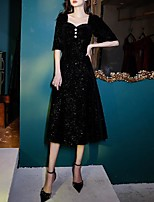 cheap -A-Line Glittering Minimalist Homecoming Cocktail Party Dress Scoop Neck Half Sleeve Tea Length Velvet with Buttons 2020