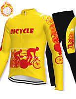 cheap -21Grams Men's Long Sleeve Cycling Jacket with Pants Winter Fleece Spandex Black / Yellow Bike Fleece Lining Warm Sports Graphic Mountain Bike MTB Road Bike Cycling Clothing Apparel / Stretchy