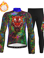 cheap -21Grams Men's Long Sleeve Cycling Jersey with Tights Winter Fleece Polyester Green Animal Bike Clothing Suit Fleece Lining Breathable 3D Pad Warm Quick Dry Sports Graphic Mountain Bike MTB Road Bike