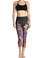 cheap -Women's Basic Casual Comfort Daily Gym Leggings Pants Galaxy Animal Calf-Length Patchwork Print Dark Gray