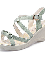 cheap -Women's Sandals Wedge Heel Peep Toe Classic Daily PU Solid Colored Almond Green