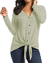 cheap -women's casual button down front knot knit sweaters shirts waffle henley long sleeve v neck tunic blouse tops (green, x-large)