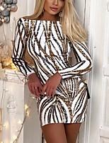 cheap -Women's Sheath Dress Short Mini Dress - Long Sleeve Print Sequins Zipper Print Summer Off Shoulder Sexy Party Slim 2020 Gold S M L XL