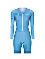 cheap -Men's Women's Long Sleeve Triathlon Tri Suit Polyester Blue Solid Color Bike Clothing Suit Breathable 3D Pad Quick Dry Reflective Strips Sweat-wicking Sports Solid Color Mountain Bike MTB Road Bike