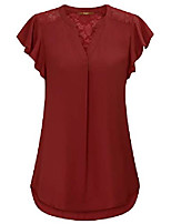 cheap -women's elegant blouses, ladies plus size tunic tops v neck sheer sexy lace shirts short sleeve pleated tunic blouse red,xxl