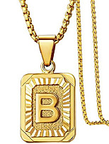 cheap -initial letter pendant necklace for mens womens, 18k gold plated square capital monogram necklace alhpabets from a-z box figaro chain necklace(square letter b)