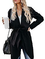 cheap -women's lapel wool blend pea coat cardigan casual long sleeve belted trench overcoat jacket black