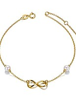 cheap -14k gold infinity anklet for women, real pearl love knot ankle bracelet jewelry gifts for her