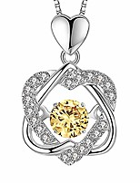 cheap -beating double heart necklace 925 sterling silver with white gold plated cubic zirconia birthstone pendant forever love necklaces jewelry gifts(november topaz)