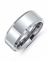 cheap -beveled edge mirror polished center 8mm comfort fit mens tungsten carbide wedding band ring, silver, size: 7