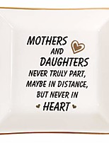 cheap -mother gifts trinket dish - ceramic ring dish decorative trinket plate - best birthday gifts for mom - mothers and daughters never truly apart, maybe in distance but never in heart