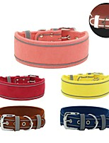 cheap -Dog Collar Adjustable Breathable Retractable Outdoor Walking Solid Colored PU Leather Corgi Shiba Inu Pug Bichon Frise Schnauzer Poodle Yellow Red Blue Pink Brown 1pc