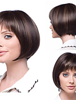 cheap -Synthetic Wig Natural Straight Neat Bang Wig Short Brown Synthetic Hair Women's Soft Classic Brown