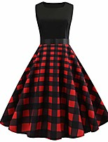 cheap -evening party dress, women's vintage plaid print dress sleeveless a-line round neck pleated dresses ladies retro checked hepburn rockabilly cocktail party prom swing dress red