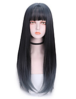 cheap -Synthetic Wig Straight With Bangs Wig Long Brown Synthetic Hair 22 inch Women's Fashionable Design Soft Color Gradient Blue