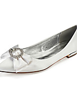 cheap -Women's Wedding Shoes Flat Heel Pointed Toe Classic Sweet Wedding Party & Evening Satin Rhinestone Pearl Satin Flower Solid Colored White Black Purple