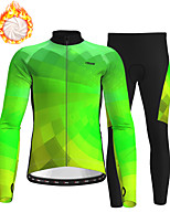 cheap -21Grams Men's Long Sleeve Cycling Jersey with Tights Winter Fleece Polyester Green Bike Clothing Suit Fleece Lining Breathable 3D Pad Warm Quick Dry Sports Graphic Mountain Bike MTB Road Bike Cycling