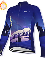 cheap -21Grams Men's Long Sleeve Cycling Jacket Winter Fleece Spandex Dark Blue Bike Jacket Mountain Bike MTB Road Bike Cycling Fleece Lining Warm Sports Clothing Apparel / Stretchy / Athleisure