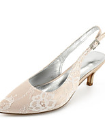 cheap -Women's Wedding Shoes High Heel Pointed Toe Wedding Party & Evening Lace Rhinestone White Champagne Ivory